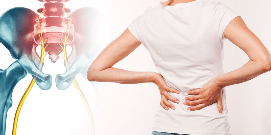 Woman suffering from sciatica nerve pain.
