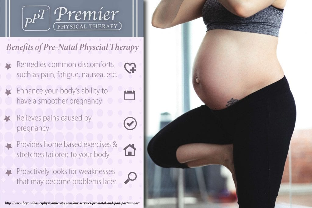 Benefits of pre-natal physical therapy for pregnant women during pregnancy.